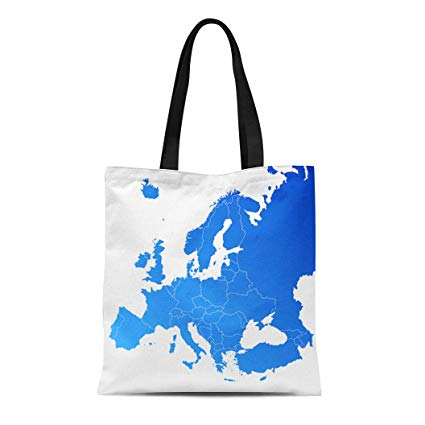 Semtomn Cotton Canvas Tote Bag European Europe Map World Country  Geographical South Clipart Continent Reusable Shoulder Grocery Shopping  Bags Handbag.