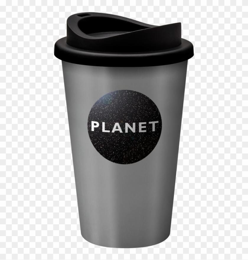 Printed Reusable Universal Coffee Mug 350ml Silver.
