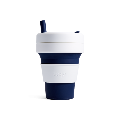 Stojo Biggie Reusable Coffee Cup with Straw.