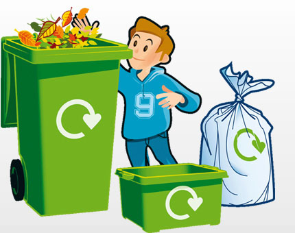 Reduce reuse recycle bins clipart.