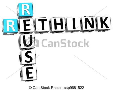 Clip Art of 3D Reuse Rethink Crossword on white background.