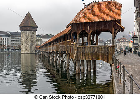 Stock Photography of Chapel Bridge over Reuss River, Lucerne.