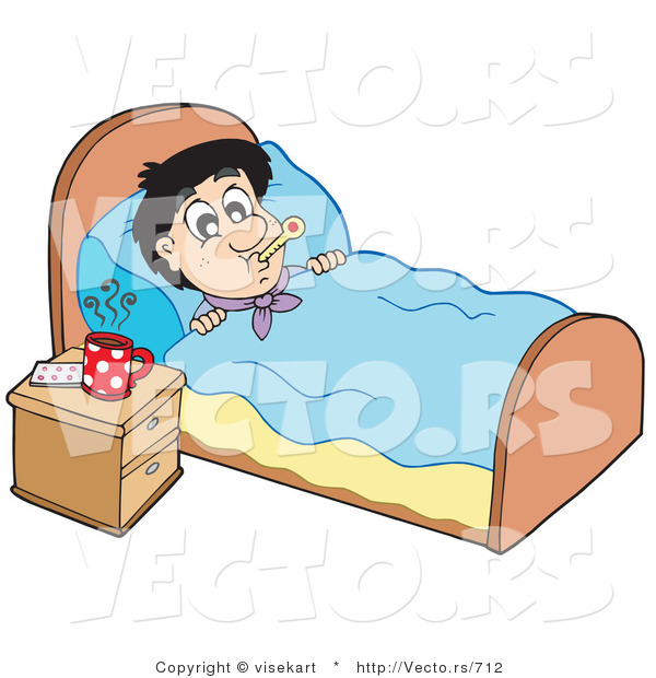 Resting in bed clipart.
