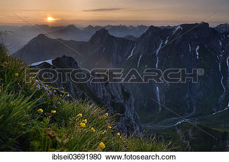 "Stock Photography of ""Sunrise over the Lechtal Alps, with a summer."