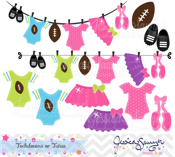 Touchdowns or Tutus Clipart, Gender Reveal Clipart, for commercial.