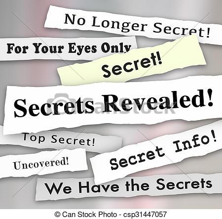 Stock Illustrations of Secrets Revealed Headlines Classified.