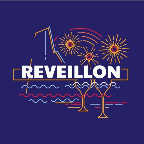 Line Art Drawing of Reveillon.