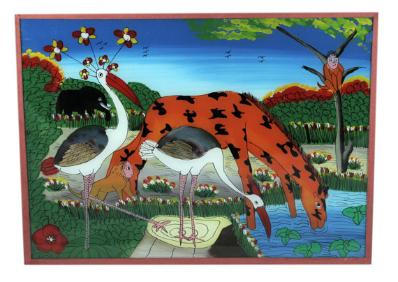 Original animal kingdom reverse painting on glass 1983 by AuCasOu.