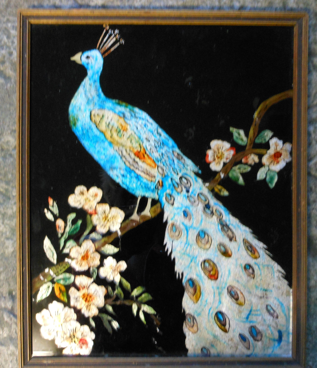 vintage reverse painting on glass. peacock by focusoninteriors123.