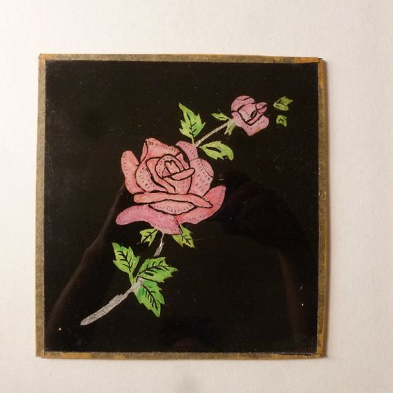 Vintage Tinsel Painting Reverse Painted Glass Rose by ajunkdrawer.