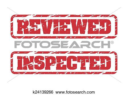 Clip Art of Reviewed and inspected rubber stamp k24139266.