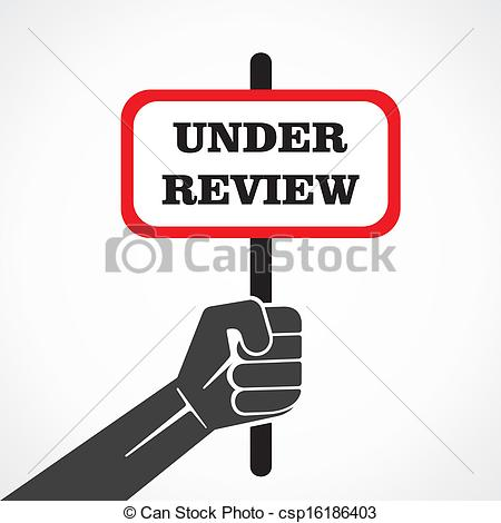 Vector Clipart of under review word banner hold in hand stock.