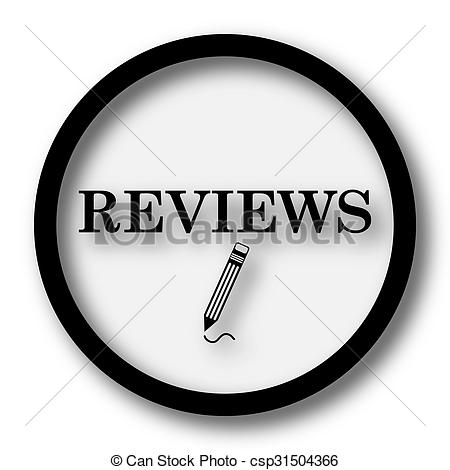 Stock Illustration of Reviews icon. Internet button on white.