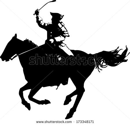 American Revolutionary War Soldier On Horse Silhouette Imagem.