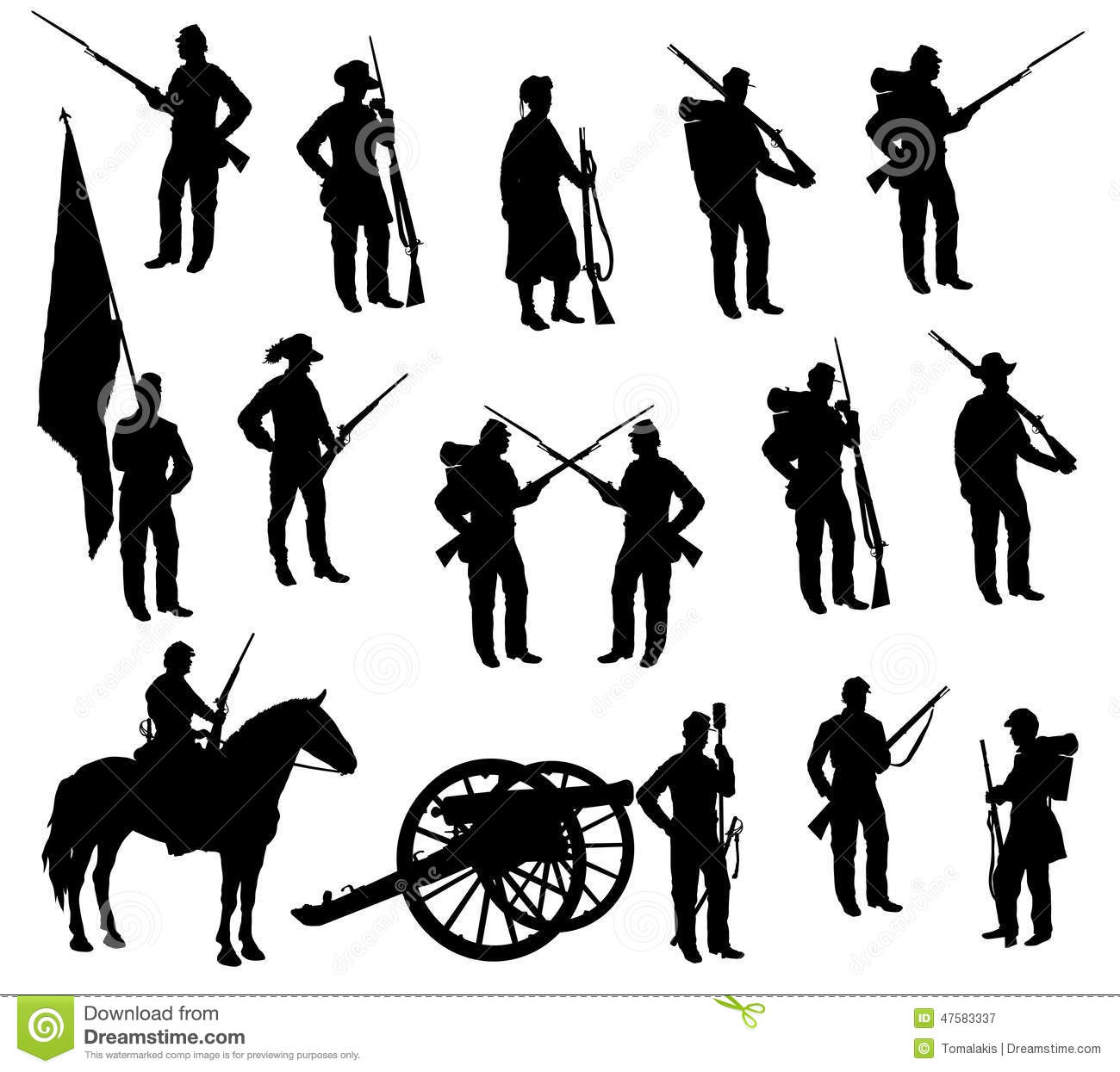 American Civil War Soldiers Silhouettes Stock Illustration.