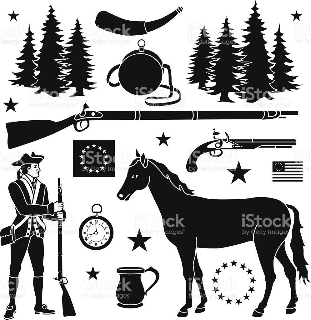 Revolutionary War Design Elements stock vector art 481971503.