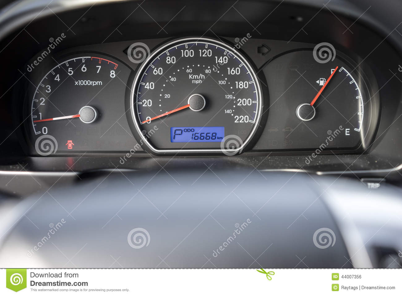 Car Speedometer Stock Photo.
