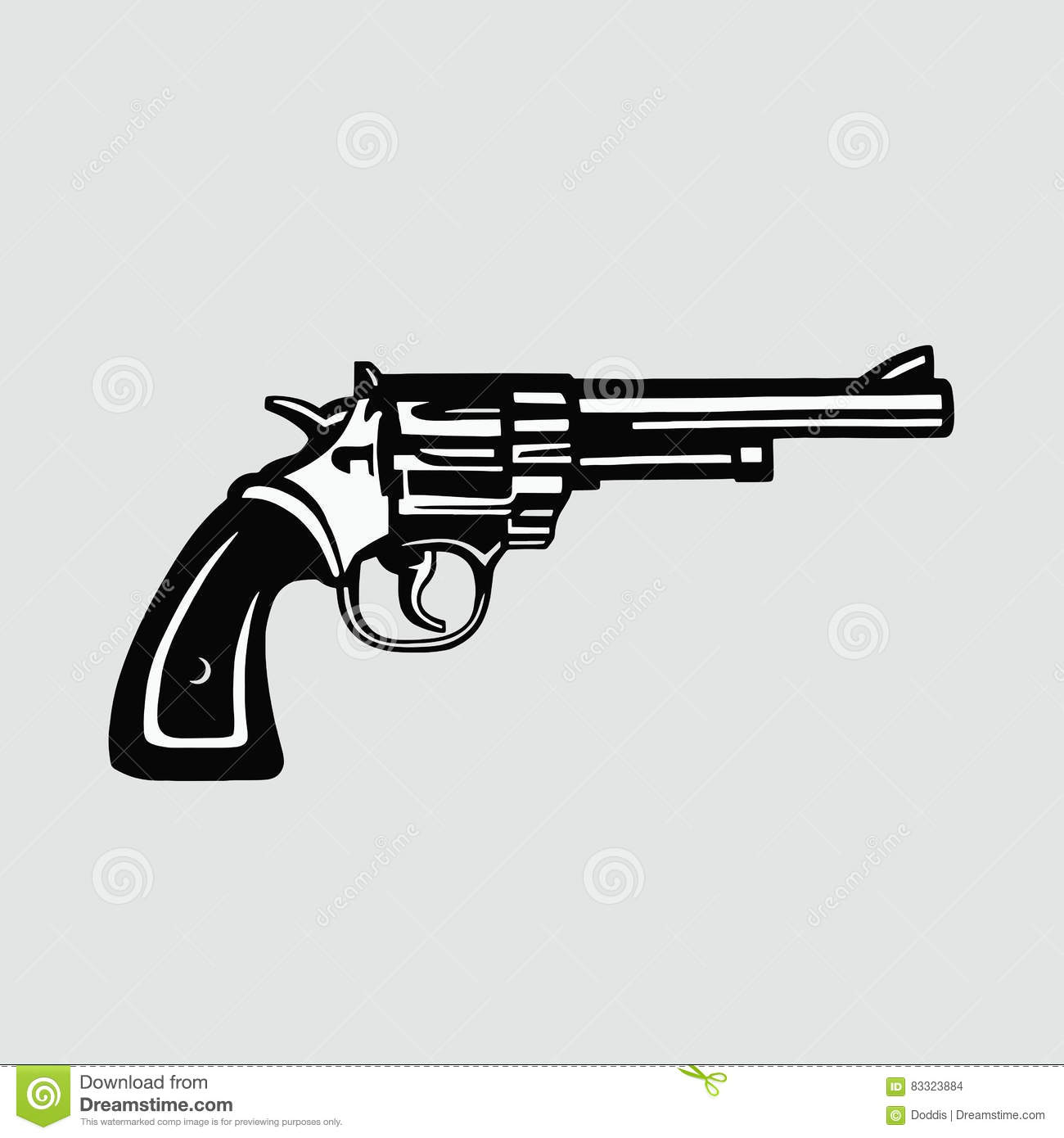 Handgun Vector Illustration Revolver Stock Vector.