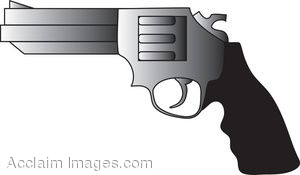 Clipart of a Silver And Black Revolver.