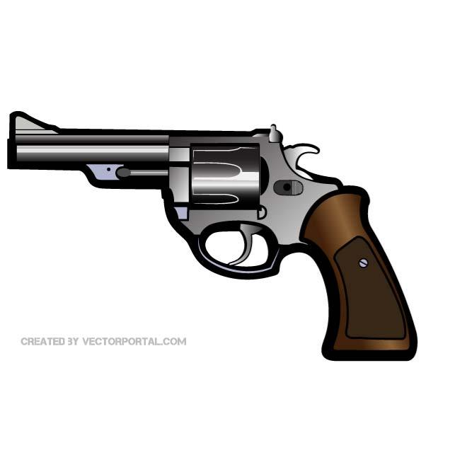 Vector clip art of a revolver..
