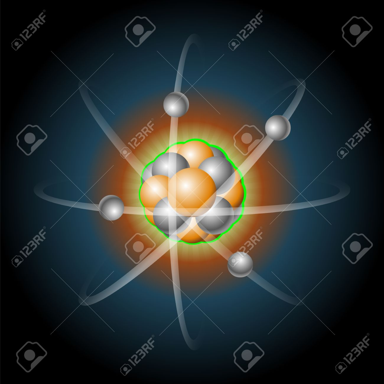 Detailed Illustration Of A Atom With Nucleus Of Protons And.