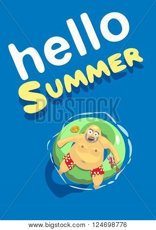 Vector illustration. Summer big discount. Shark revolves around a.