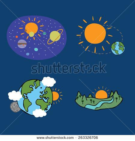 Illustration Earth Revolves Around Sun Stock Illustration.