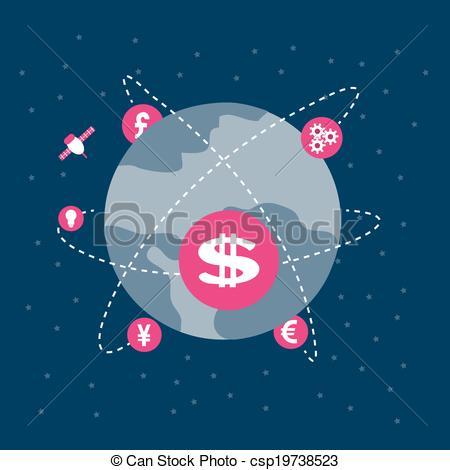 Vector Illustration of Money revolves around the world ,Vector.
