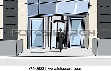 Clipart of Businesswoman Walking Out of the Revolving Doors of An.