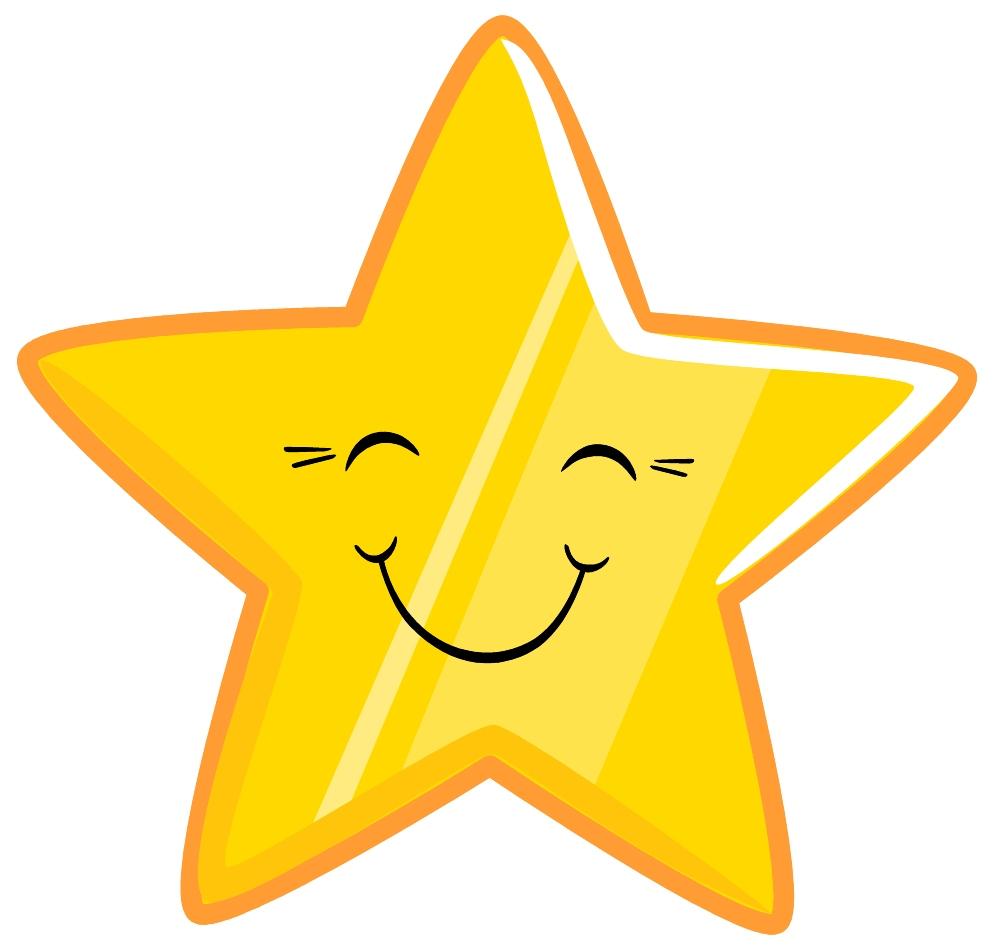 Reward smiling gold star clipart.