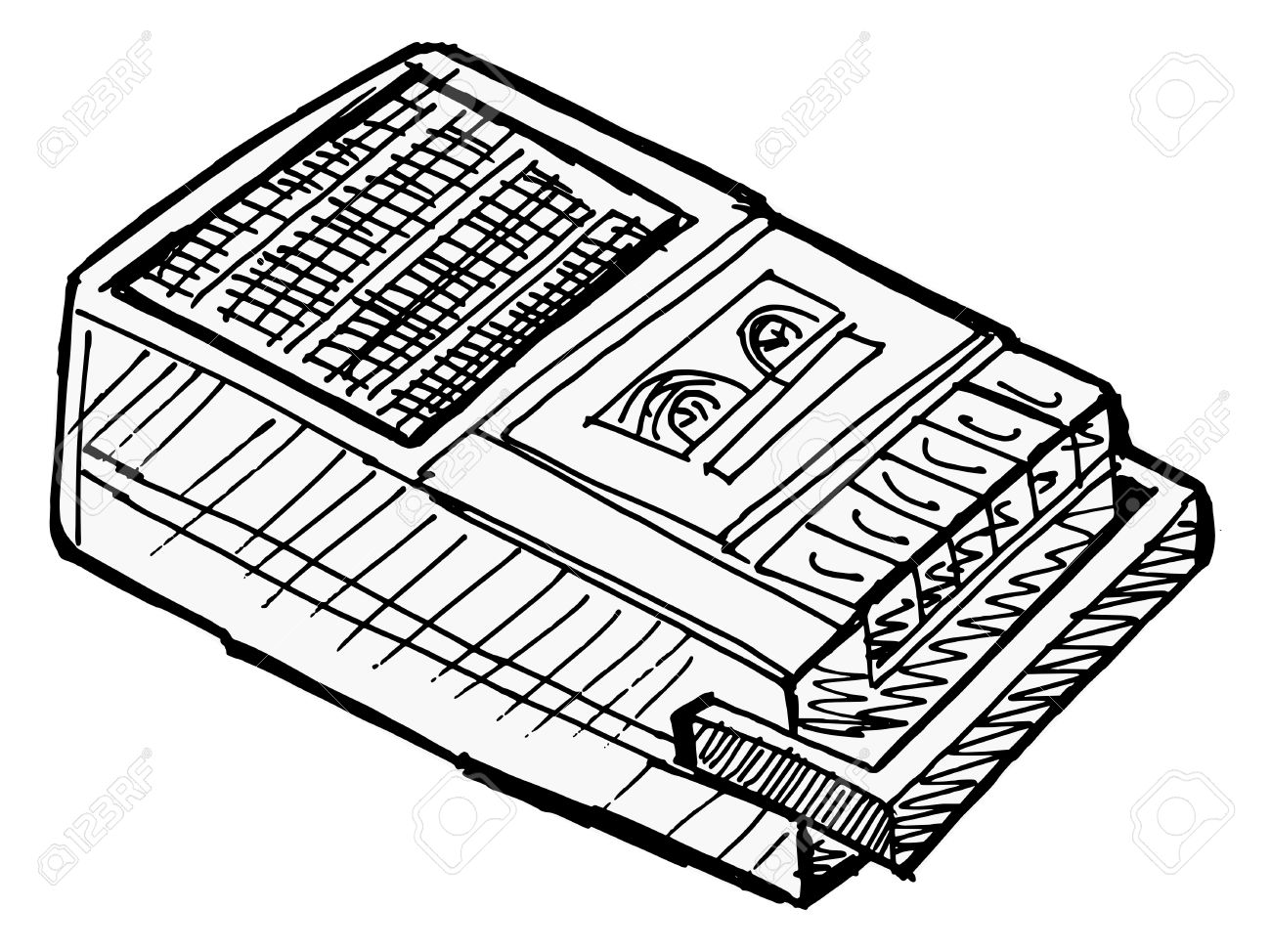 Illustration Of Compact Tape Recorder On White Royalty Free.