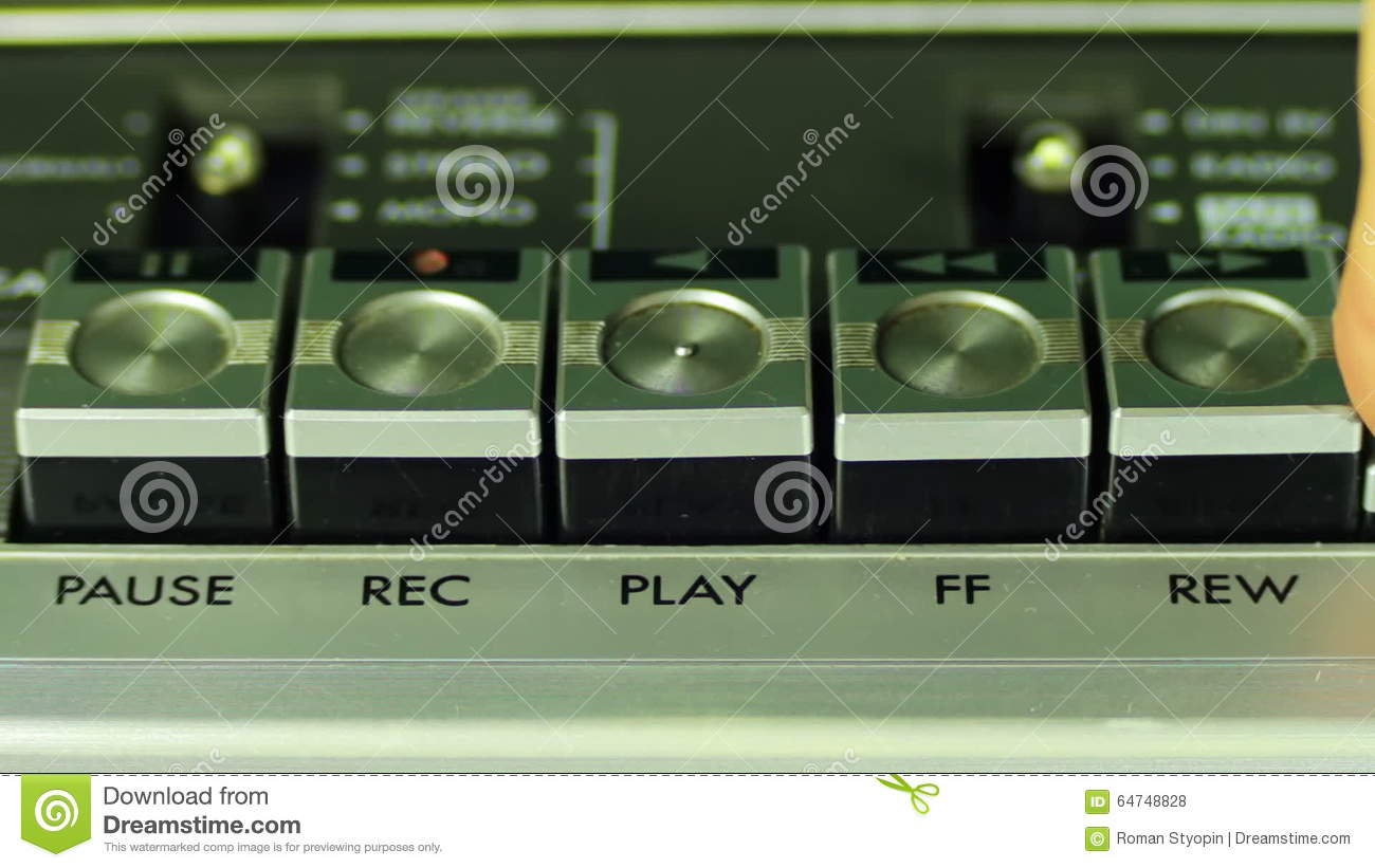 Pushing Button On A Tape Recorder, Play, Stop, Rec Stock Footage.