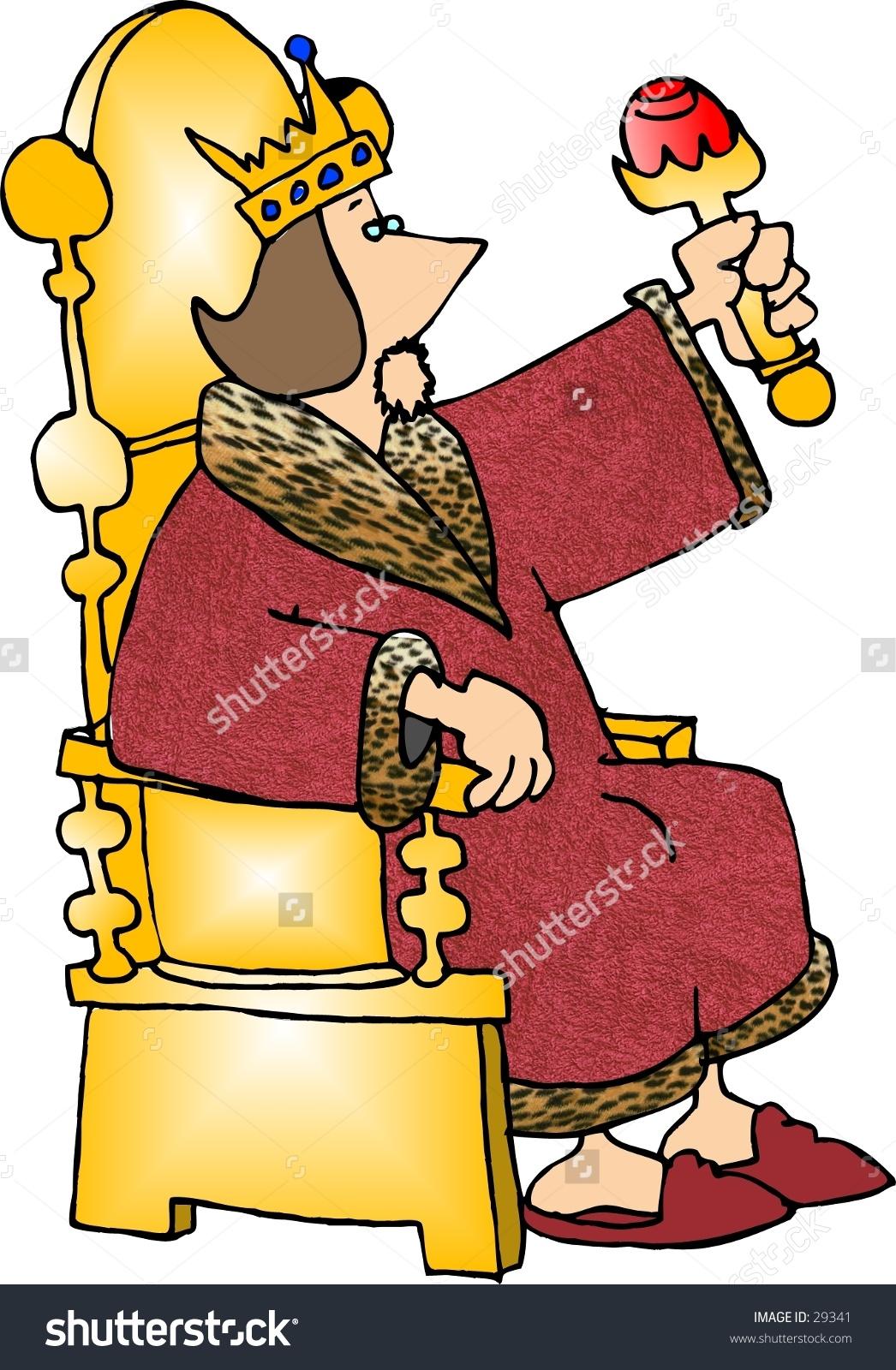 Clipart Illustration King Seated On His Stock Illustration 29341.