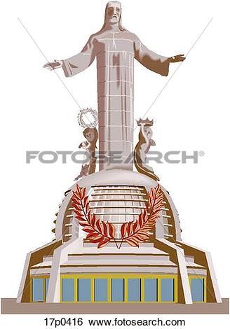 Clip Art of Cristo Rey del Cubilete 17p0416.