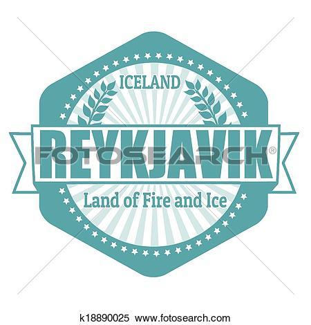 Clipart of Reykjavik capital of Iceland label or stamp k18890025.