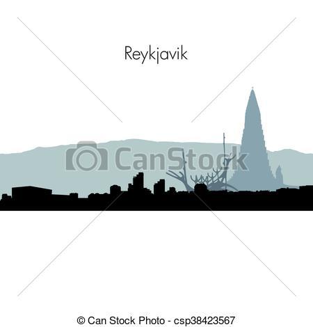 Clip Art Vector of Vector Reykjavik skyline silhouette.