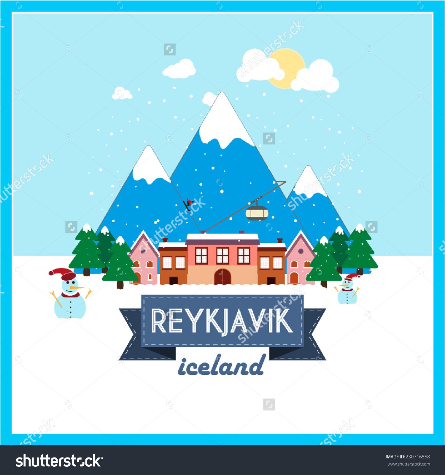 Reykjavik Iceland Winter Holiday Destination Flat Stock Vector.
