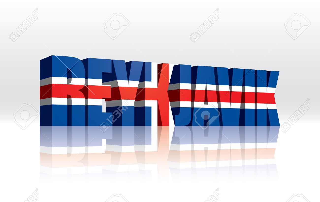 3D Vector Reykjavik (Iceland) Word Text Flag Royalty Free Cliparts.