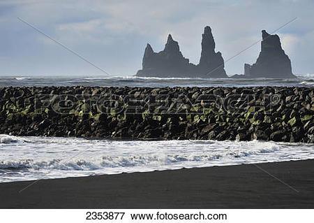 Picture of Basalt Stacks Of Reynisdrangar; Vik, Vestur.
