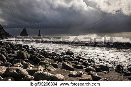 "Stock Photo of ""Reynisdrangar, black basalt sea stacks, Black."