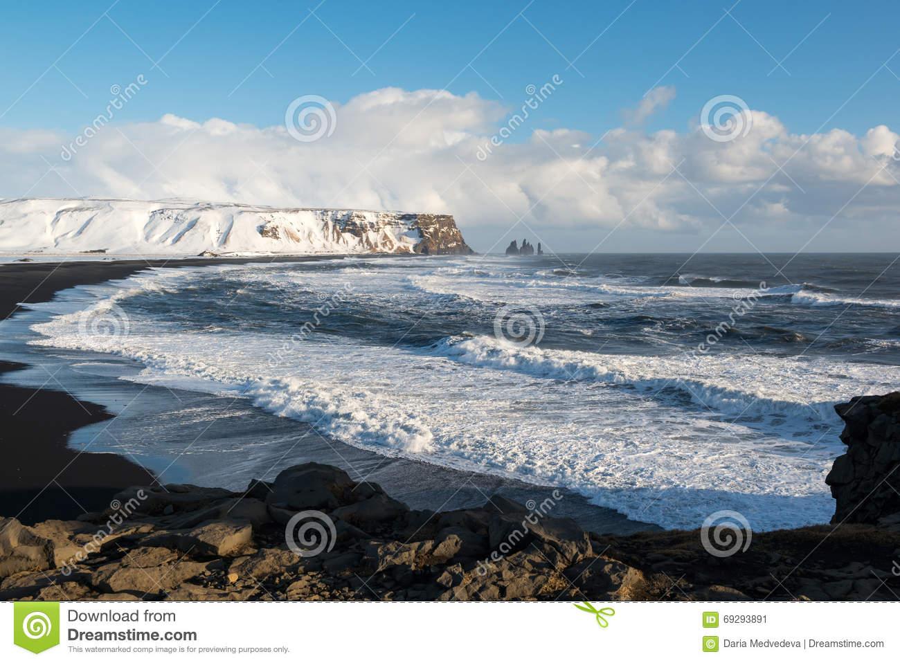 Winter Landscape With Reynisdrangar Stacks, Black Sand Beach And.