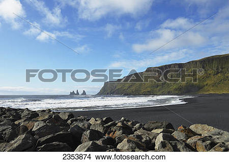 Stock Photo of Black Lava Beach With Basalt Stacks Of.