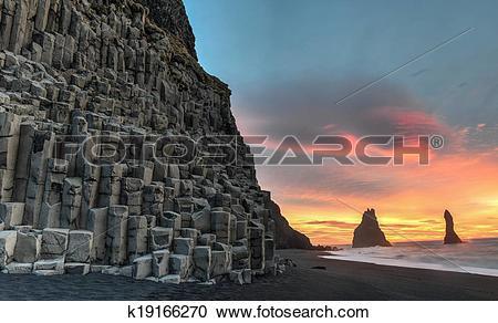 Stock Photography of Reynisdrangar on Reynisfjara Beach k19166270.