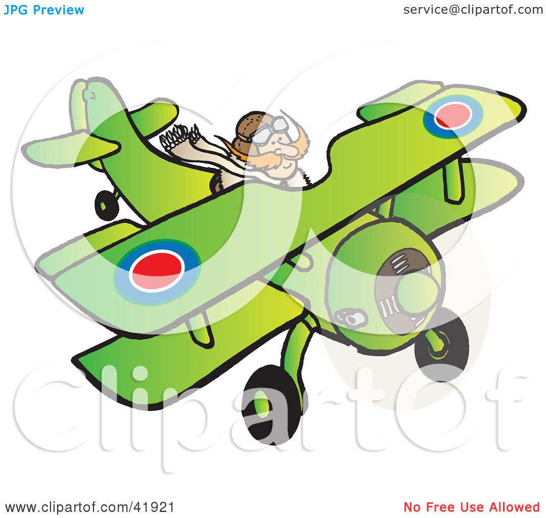Clipart Illustration of an RFC Pilot Flying a Biplane by Snowy #41921.