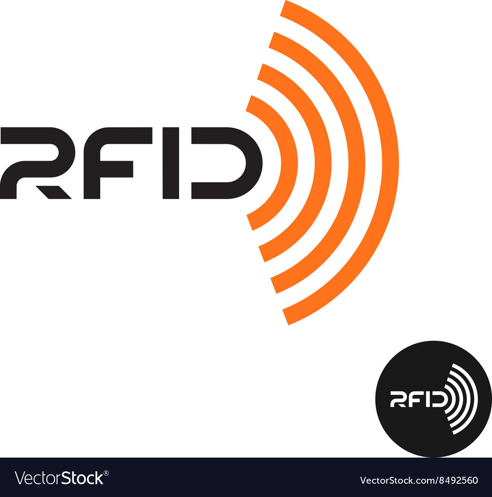 RFID tag icon Text logo with radio wireless waves.