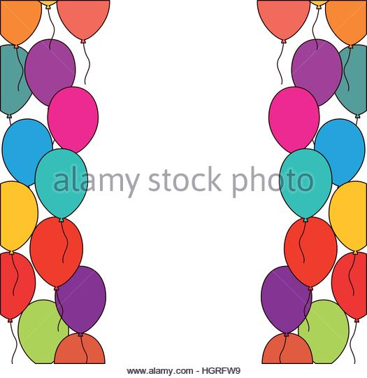 Bunch Blue Balloons Ribbon Illustration Stock Photos & Bunch Blue.