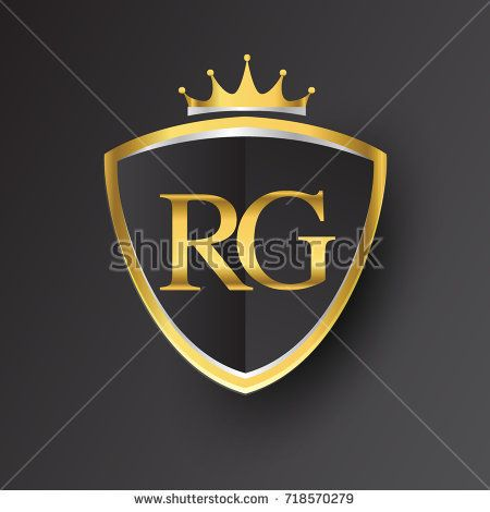 Initial logo letter RG with shield and crown Icon golden.