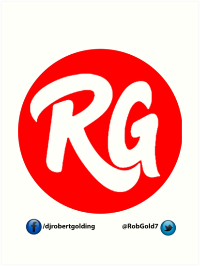 \'RG Logo Original Red With Social Links \' Art Print by djrob.