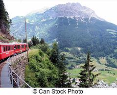 Stock Photo of The Rhaetian Railway, Switzerland.