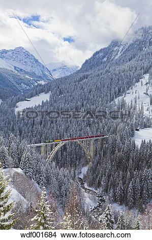 Stock Photo of Switzerland, Rhaetian railway passing through.